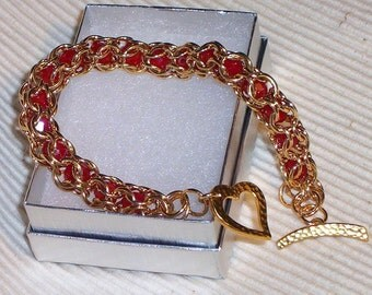"SOLD Caged 9"" Red Brass Beaded Chainmaille heart bracelet"