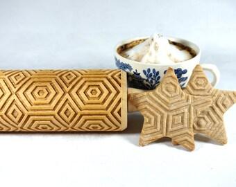 GEOMETRISCHE Muster - geprägt, graviert Nudelholz für cookies