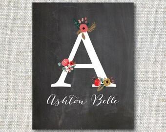 Personalized Floral Art Print: Girl, Chalkboard, Script, Nursery Art, Digital File, Custom