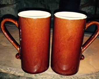 2 ESPRESSO MUGS - Chocolate Brown/White