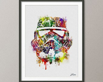 star wars poster Watercolor  star wars painting illustration  star wars Art Print Wall Gift Poster Giclee Wall Decor Art Wall Hanging A111