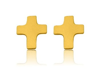 Gold-plated Earrings Cross Sterling Silver 925