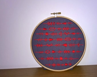 Tribal inspired embroidered hoop art
