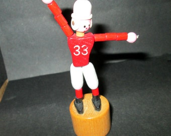 Vintage Wooden Push Up Toy Football Player - Fomlet Made in Italy
