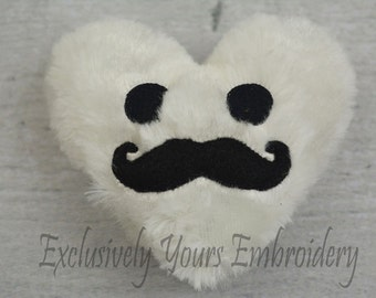 Mustached Heart Stuffie
