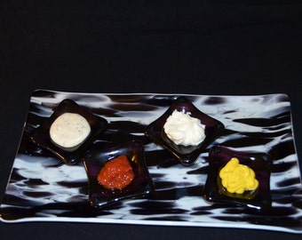 Black and White Fused Glass Serving Plate