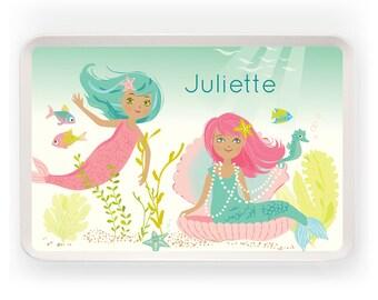 KIDS TRAY - Personalized Mermaid melamine tray for kids