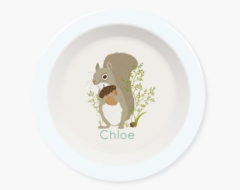 kids BOWL, plate for kids, Personalized bowl, custom, Woodland ,Squirrel, bowl for kids