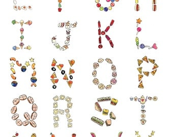 """Fun Food ABC poster. Letters from """"Alphabet Zooup"""". 11x17."""