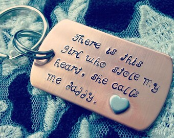 Daddy Quote Copper Handstamped Keyring