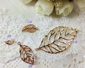 20pcs Gold Plated Hollow Leaf Charms Leaf Pendant Metal Stamped Leaves Leaf Stampings