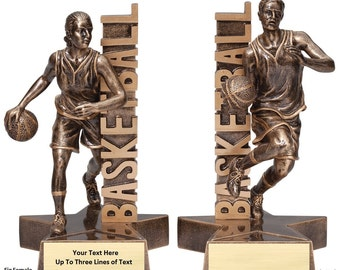 3 Styles of Basketball Awards - Resin Sculptures with Customizable Plate!
