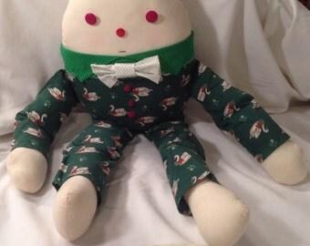 Vintage Handmade Stuffed Humpty Dumpty Doll