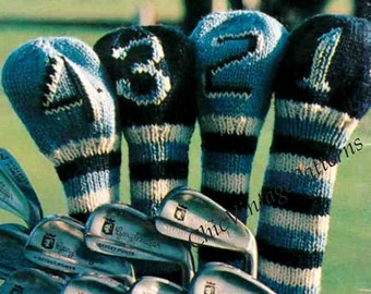 Knitted Golf Club Covers ... Super Gift for a Golfer ... Terrific for Fete, Fair or Market ... PDF Knitting Pattern