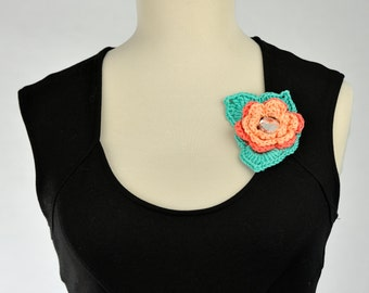 Cotton Flower brooch made in crochet
