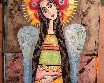 Angel, mexican, folkart, Spanish angel with lamb 175 woodenwolf ..20 dollars off!!!