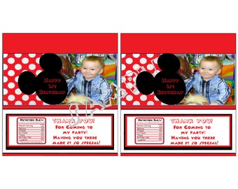 Personalized Mickey Mouse Photo Birthday Candy Bar Wrapper