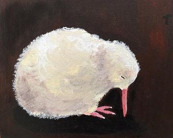Painting of a tired baby Kiwi, print, bird portrait, baby bird, nursery decor, animal portrait, cottage, framed art, sleepy bird, 5x7