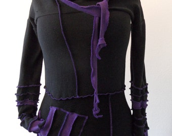 Katwise upcycled sweater hoodie hot-black deep-purple XL