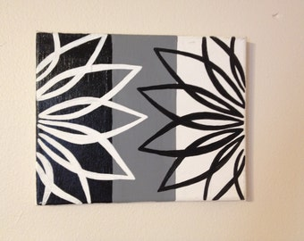 Black, White, and Grey Flowers (8x10)