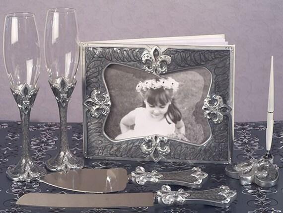 Fleur de lis Theme Wedding accessory set Guest Book, Pen Set, Cake . Knife Server Set, Flutes Options