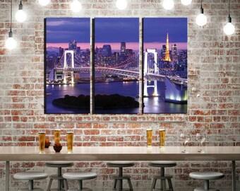 "Framed Huge Canvas Wall Art 3-Panel, Tokyo Bay, Rainbow Bridge, Japan, 42x30"""