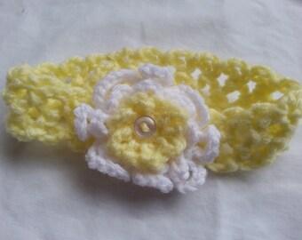 Baby Girl's Yellow Headband with White and Yellow Flower