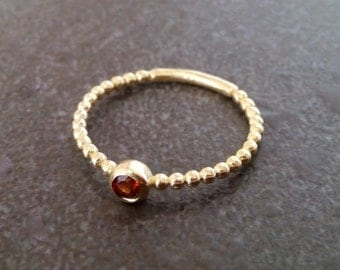 SALE!  Gold Ring-Natural Garnet Ring - Stackable Ring - All Birthstones Ring - Thiny ring - Simple ring - Bezel ring