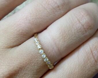 SALE! Slim Ring,White Quartz Band,Many Gemstones Ring,TIny Ring,Wedding Band,Stacking Ring, Bezel Ring,Crystals Ring
