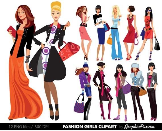 Fashion Lady Clip Art Fashion Girl Digital Shopping Ladies