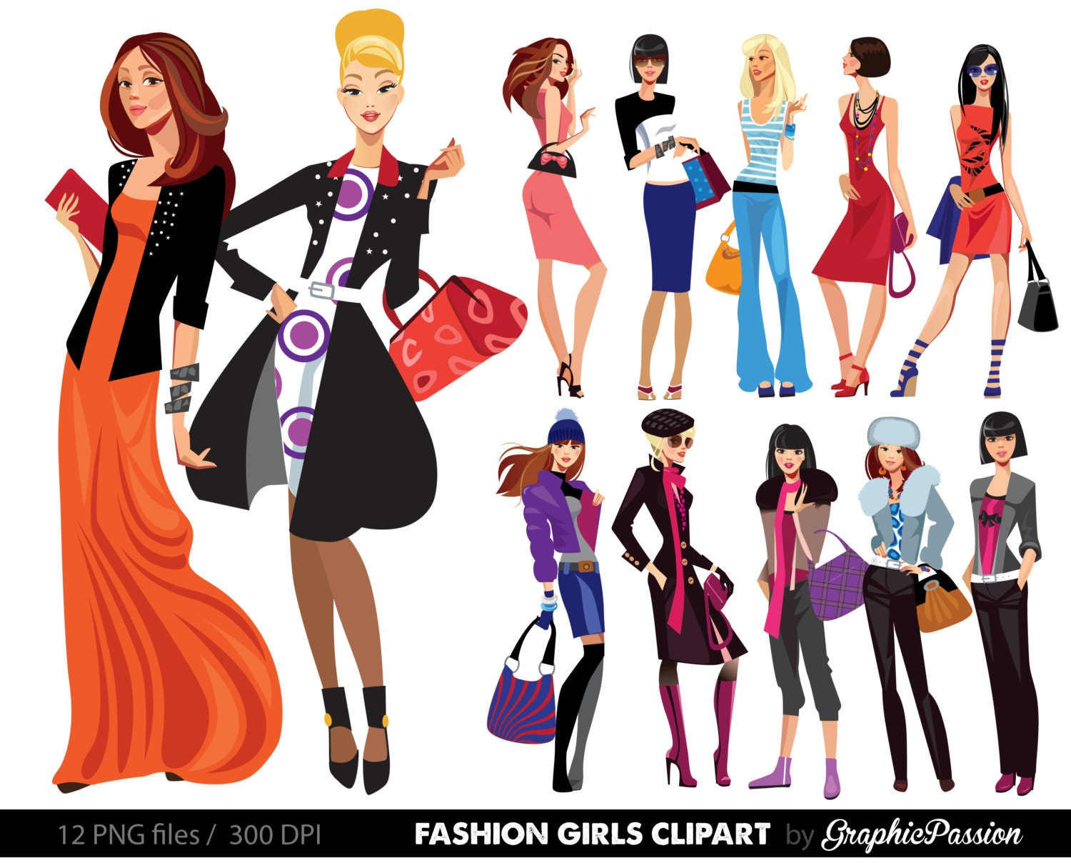 Fashion Lady Clip Art Fashion Girl Digital Shopping Ladies