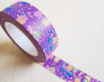 Japanese Washi Tape Rice Paper Tape Masking Tape - Purple Graffiti Pattern (10m)