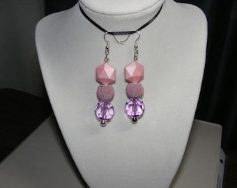 """Pink Dangle Drop Earrings,  Approx 3"""" long.   B34 Free Shipping"""