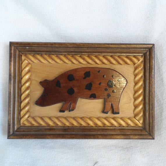 Pig-Wall Decor-Wall Hanging-Wood Hand Made Pig Plaque