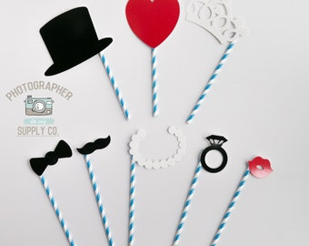 8 Piece Paper Straw Wedding Photo Booth Props Great For Weddings, Bachelorette Parties, Birthdays, Photobooth Bulk Lot