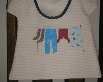 Handmade appliqued Peg-bag - with its own line of colourful washing!