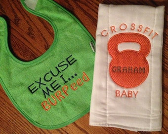CrossFit bib and burp cloth set