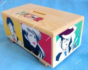 Lupin III handpainted popart-style wooden money box, anime box, lupin sansei