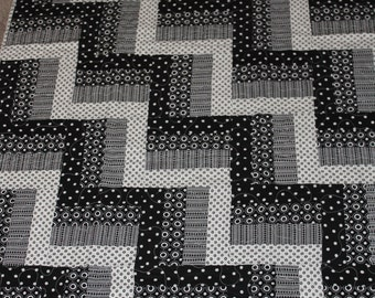 Handmade Baby Quilt in a Black and White Rail Fence Quilt pattern, Quilts, Black and white, polka dot,