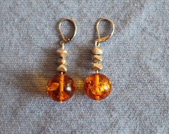 Handmade genuine amber earrings with metal beads and leverback stainless steel wires