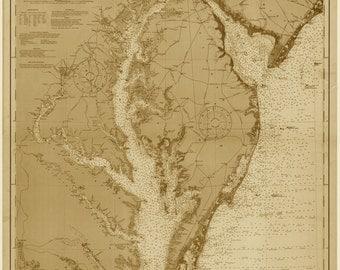 Delaware Bay Map & Chesapeake Bay 1912
