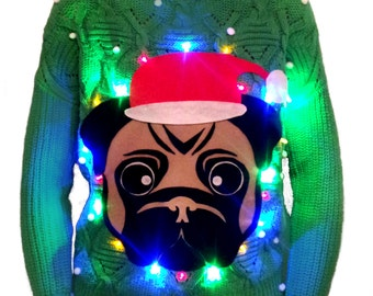 Light Up Pug Christmas Jumper With 20 Coloured Led Battery