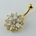 Handmade 3 Micron 18K Gold Plating Fancy Double Layer Flower 925 Sterling Silver with Stainless Steel Belly Bars , Navel Button Rings