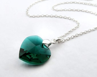 Emerald Heart Necklace Green Swarovski Elements Crystal, Emerald Pendant On Sterling Silver Chain, Green Crystal Pendant Emerald Birthstone