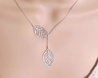 Leaf Lariat, Silver Leaf Y Lariat Necklace, Filigree Leaf Pendant, Silver Lariat Necklace, Leaf Jewelry, Y Necklace