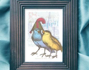 Vintage bird print, 5 x 7 prints, whimsical bird print, bird art