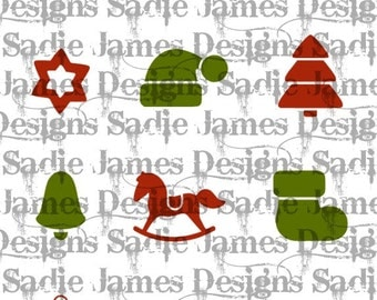Christmas Holiday icons SVG and Silhouette Studio cutting file, Instant Download