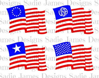 USA flags waving SVG and Silhouette Studio cutting file, Instant Download