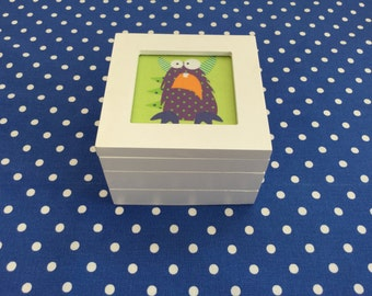 Childs White trinket box with Monster design.(Free p&p UK)