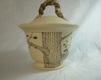Porcelain Covered Candy Dish with Lid with Tree Painting, Candy Jar, Candy Bowl